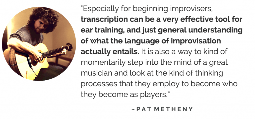 Pat Metheny transcribing