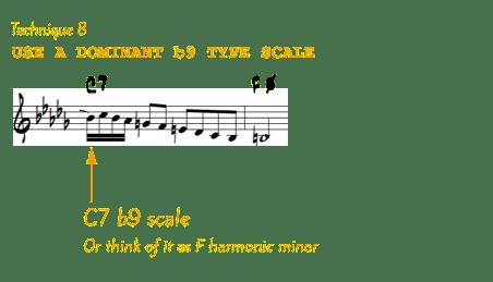 Dominant b9 scale