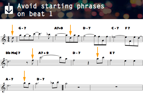 avoid starting phrases on beat 1