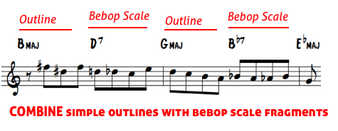 Brecker lines 7 - chord plus bebop scale