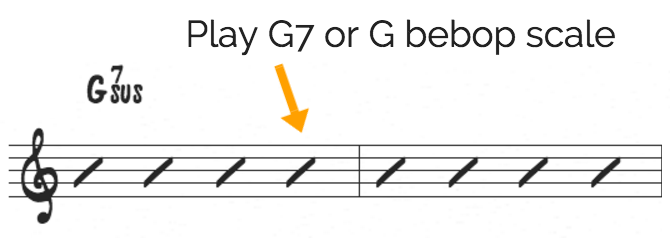 Bebop scale on sus chords