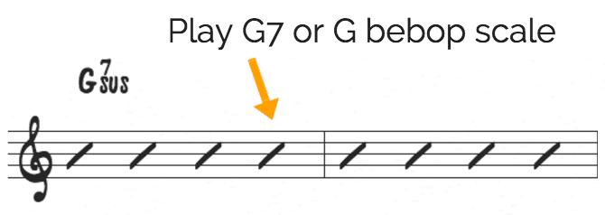 Bebop scale on sus chords