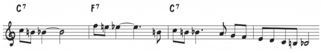 Bebop scale pattern over the blues