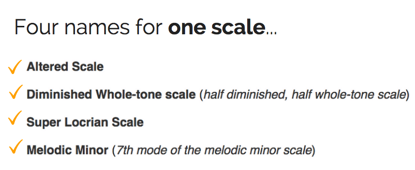 Four names for the altered scale