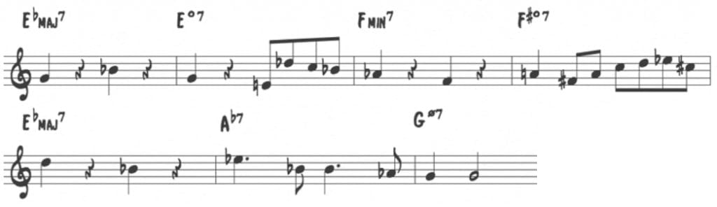Learning jazz standards the right way jazz advice lets take the paul chambers movement over the first four bars for instance transcribe how miles navigates this progression ascending by half steps fandeluxe Gallery