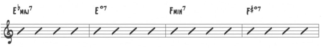 Learning jazz standards the right way jazz advice rather than outlining the standard i iii vi ii progression he ascends by half step from the first eb with these bass notes as the roots of the chord fandeluxe Gallery